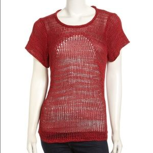 Red Helmut Lang Marled Mix Knit Sweater